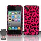 Hard Plastic Rubber Feel Design Case for Apple iPhone 4/4S - Hot Pink Leopard