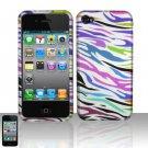 Hard Plastic Rubber Feel Design Case for Apple iPhone 4/4S - Rainbow Zebra