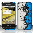 Hard Plastic Rubber Feel Design Case for Samsung Conquer 4G D600 - Silver and Blue Vines