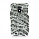 Hard Plastic Bling Design Case for Samsung Galaxy S II Epic 4G Touch - Silver and Black Zebra