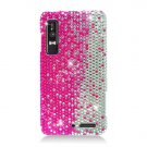 Hard Plastic Bling Rhinestone Design Case for Motorola Droid 3 - Silver and Pink