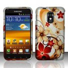 Hard Plastic Rubber Feel Design Case for Samsung Galaxy S II Epic 4G Touch - Red and Gold Flowers