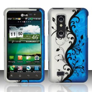 Hard Plastic Rubber Feel Design Case for LG Thrill 4G - Silver and Blue Vines