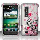 Hard Plastic Rubber Feel Design Case for LG Thrill 4G - Silver and Pink Flowers