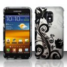 Hard Plastic Rubber Feel Design Case for Samsung Galaxy S II Epic 4G Touch - Silver and Black Vines