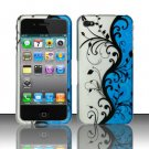 Hard Plastic Rubber Feel Design Case for Apple iPhone 4/4S - Silver and Blue Vines