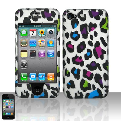 Hard Plastic Rubber Feel Design Case for Apple iPhone 4/4S - Rainbow Leopard