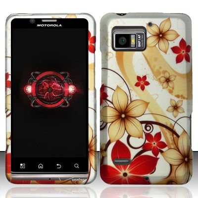 Hard Plastic Rubber Feel Design Case for Motorola Droid Bionic Targa XT875 - Red and Gold Flowers