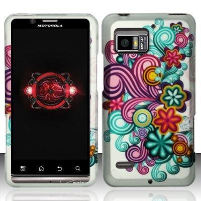 Hard Plastic Rubber Feel Design Case for Motorola Droid Bionic Targa XT875 - Purple and Blue Flowers