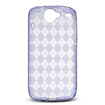Crystal Gel Check Design Skin Case for HTC Google Nexus One - Purple