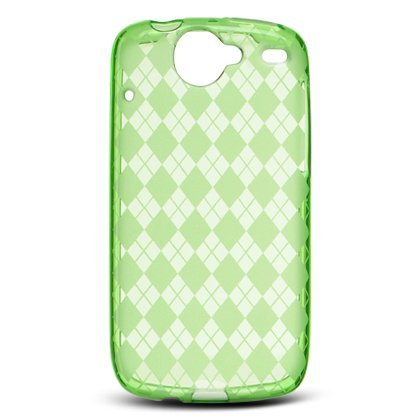 Crystal Gel Check Design Skin Case for HTC Google Nexus One - Green