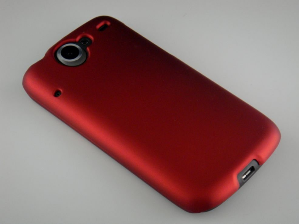 Hard Plastic Rubber Feel Back Cover Case for HTC Google Nexus One - Red