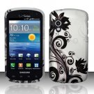 Hard Plastic Rubber Feel Design Case for Samsung Stratosphere i405 - Silver and Black Vines
