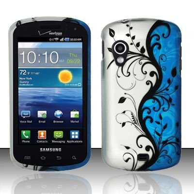 Hard Plastic Rubber Feel Design Case for Samsung Stratosphere i405 - Silver and Blue Vines