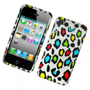 Hard Plastic Rubber Feel Design Case for Apple iPhone 4/4S - Colorful Leopard