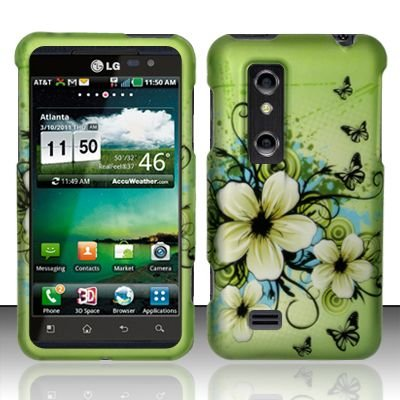 Hard Plastic Rubber Feel Design Case for LG Thrill 4G - Green Flowers and Butterfly