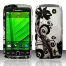 Hard Plastic Rubber Feel Design Case for Blackberry Torch 9850/9860 - Silver and Black Vines
