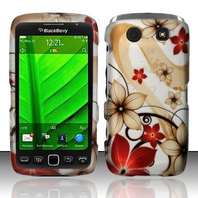 Hard Plastic Rubber Feel Design Case for Blackberry Torch 9850/9860 - Red and Gold Flowers