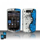 Hard Plastic Rubber Feel Design Case for Blackberry Torch 9800 - Silver and Blue Vines
