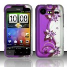 Hard Plastic Rubber Feel Design Case for HTC Incredible 2 6350 - Silver and Purple Vines