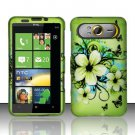 Hard Plastic Rubber Feel Design Case for HTC HD7/HD7S - Green Flowers and Butterfly
