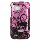 Hard Plastic Design Cover Case for HTC Rezound 6425 - Black and Purple Swirls