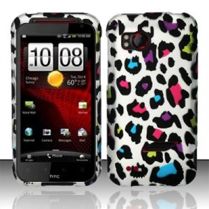 Hard Plastic Rubber Feel Design Case for HTC Rezound 6425 - Rainbow Leopard