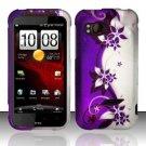 Hard Plastic Rubber Feel Design Case for HTC Rezound 6425 - Silver and Purple Vines