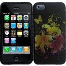 Hard Plastic Rubber Feel Design Case for Apple iPhone 4/4S - Heavenly Flowers