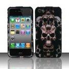 Hard Plastic Rubber Feel Design Case for Apple iPhone 4/4S - Ancient Skulls