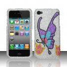 Hard Plastic Bling Rhinestone Design Case for Apple iPhone 4/4S - Colorful Butterfly
