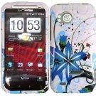 Hard Plastic Design Cover Case for HTC Rezound 6425 - Blue Flower Splash
