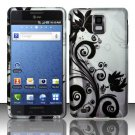 Hard Plastic Rubber Feel Design Case for Samsung Infuse 4G i997 - Silver and Black Vines