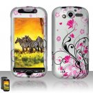 Hard Plastic Rubber Feel Design Case for HTC Mytouch HD 4G - Silver and Pink Flowers