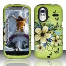 Hard Plastic Rubber Feel Design Case for HTC Amaze 4G/Ruby - Green Flowers and Butterfly