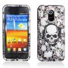 Hard Plastic Rubber Feel Design Case for Samsung Galaxy S II Epic 4G Touch - White Skulls
