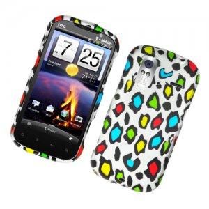 Hard Plastic Rubber Feel Design Case for HTC Amaze 4G/Ruby - Colorful Leopard