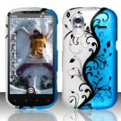 Hard Plastic Rubber Feel Design Case for HTC Amaze 4G/Ruby - Silver and Blue Vines