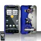Hard Plastic Rubber Feel Design Full Case for HTC Evo 4G - Silver and Purple Vines