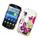 Hard Plastic Rubber Feel Design Case for Samsung Stratosphere i405 - Pink Butterfly