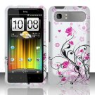 Hard Plastic Rubber Feel Design Case for HTC Vivid/Holiday - Silver and Pink Flowers