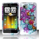 Hard Plastic Rubber Feel Design Case for HTC Vivid/Holiday - Purple and Blue Flowers