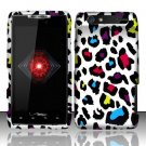 Hard Plastic Rubber Feel Design Case for Motorola Droid RAZR XT912 - Rainbow Leopard
