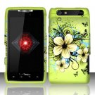 Hard Plastic Rubber Feel Design Case for Motorola Droid RAZR XT912 - Green Flowers and Butterfly