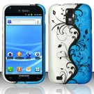 Hard Plastic Rubber Feel Design Case for Samsung Galaxy S II/Hercules T989 - Silver and Blue Vines