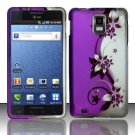 Hard Plastic Rubber Feel Design Case for Samsung Infuse 4G i997 - Silver and Purple Vines