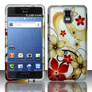 Hard Plastic Rubber Feel Design Case for Samsung Infuse 4G i997 - Red and Gold Flowers