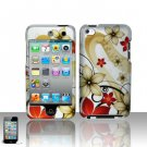 Hard Plastic Rubber Feel Design Case for Apple iPod Touch 4 - Red and Gold Flowers