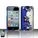 Hard Plastic Rubber Feel Design Case for Apple iPod Touch 4 - Silver and Purple Vines