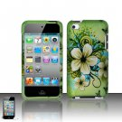 Hard Plastic Rubber Feel Design Case for Apple iPod Touch 4 - Green Flowers and Butterfly